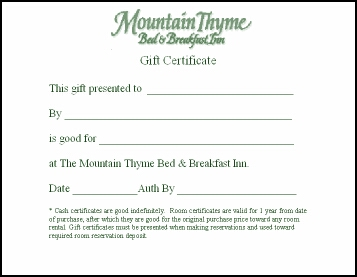 Mountain Thyme Gift Certificates